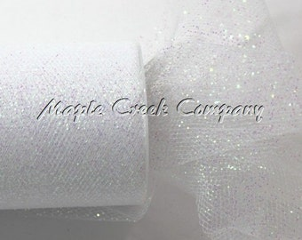 WHITE Glitter Tulle Roll 6in x 30ft - Sparkling Tulle (10 yards)