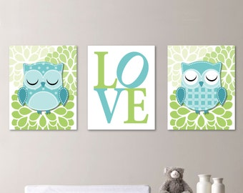 Whimsy Hoot Owl Love Trio - Decor Nursery. Girl - Shown in Teal Blue and Green - You Pick the Size & Colors (NS-212)