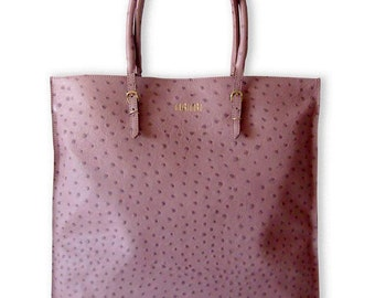 """BLOGS"" pink ostrich leather-40 x 56 cm"