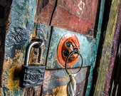 500 Year Old Gompa Door - Lock - Art - Photography - Texture - Braka, Nepal - Yellow, Turquoise, Orange