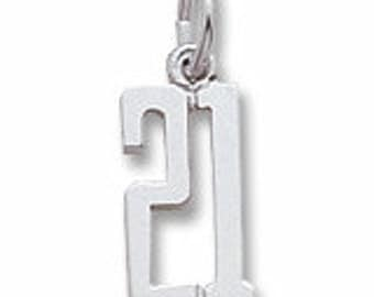 Sterling Silver 21 Charm by Rembrandt