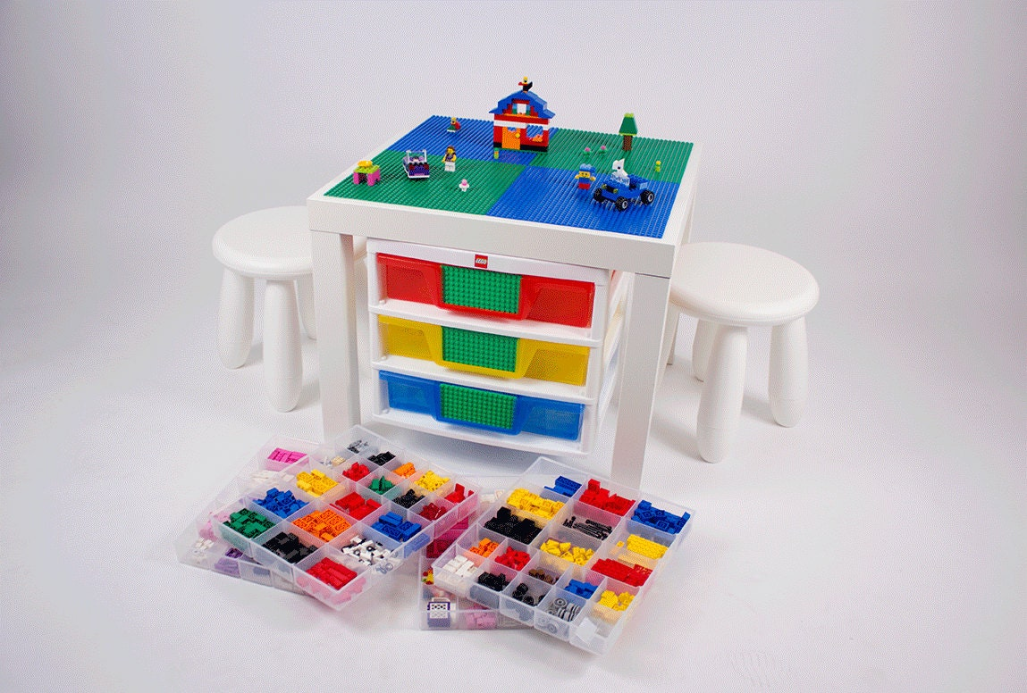 White LEGO Table with LEGO storage drawers 20x20 inch