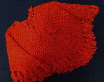 Girl's Hand Crocheted Vintage Red Cape.  FREE US SHIPPING!