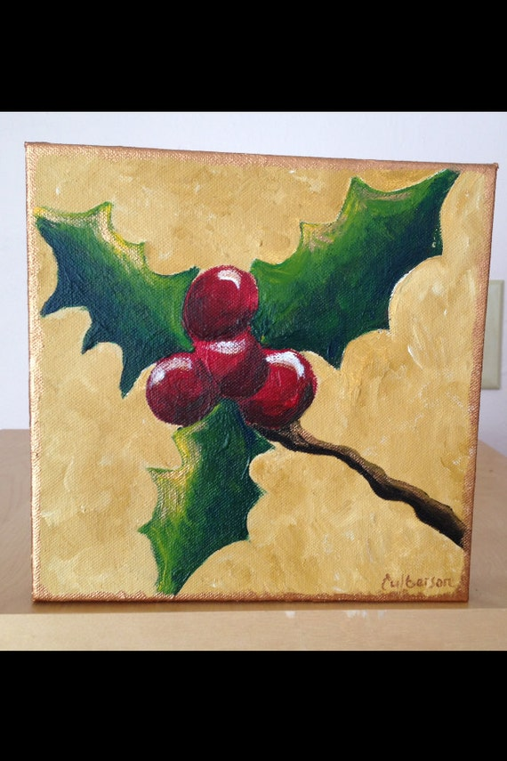 items similar to christmas holly painting acrylic on canvas on etsy. Black Bedroom Furniture Sets. Home Design Ideas