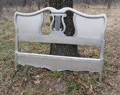 Vintage French Provincial Bed  Custom Painted Romantic French Country Lyre Back Headboard w/Foot Board   Full Size Bed