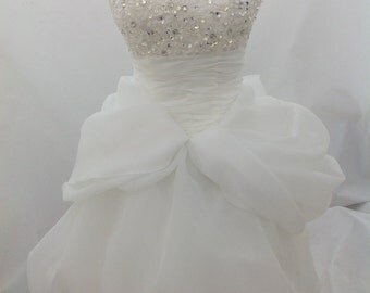 2016 New short in front drag flowers wedding dress bride short in front long tail.