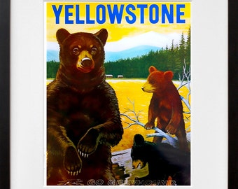 Yellowstone Art Travel Poster Bears Print Home Decor (ZT366)