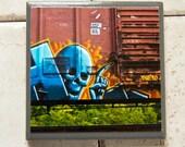 Train art coaster: Ichabod 1 - Train Graffiti. Individually photographed and hand made by Frank Heflin