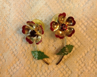 Vintage Enamel And Gold Earrings