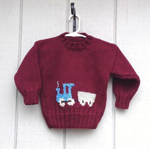Knitting Pattern Train Sweater : Toddler knit train sweater 12 to 24 months Kids by LurayKnitwear