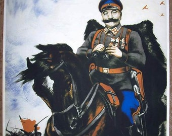 "WW2 USSR RKKA ""Ahead ! Budionovets !"" poster"