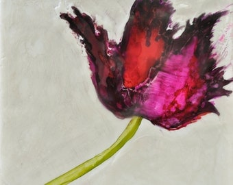 Tulip - 6x6 Original Encaustic, Ink and Shellac Painting on Encaustic Board