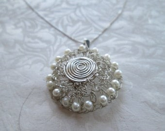 Wire crochet jewelry , silver necklace , pearl necklace , one of a kind necklace , crocheted pendant, gift for her