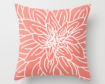 Modern Flower Pillow with insert // Coral and White Pillow // Home Decor //
