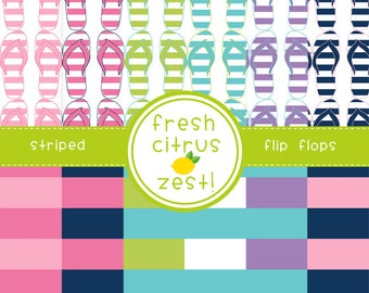 Flip Flops Digital Paper for Scrapbooking Invitations Cards and Party Decor