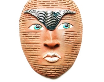 The Warrior - Ceramic Wall Mask Sculpture, One Of A Kind Clay Face