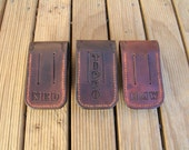 Custom hand tooled, cow hide, leather knife pouch / sheath for Leatherman Wave made to order