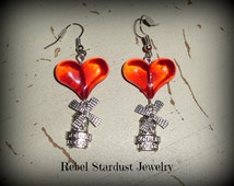 Moulin Rouge earrings with big red heart