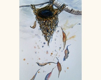 Watercolour painting .. Nest and gum leaves. Nest painting. Leaf painting. Original painting.