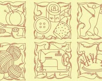 10 Redwork Sewing Block Designs 4x4