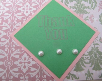 Thank you card, friend, sister, wife thank you,  Pink, green and beige thank you, Set of 2 cards
