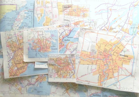 Canadian paper maps: set of 15 road atlas maps of Canadian cities and areas. Ideal for paper craft, scrapbooking, collage, decoupage.