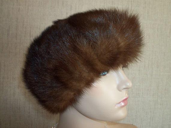 "Vintage Hat Luxury Vintage Winter Fur Hat 1960s Chestnut Brown Glossy Mink Real Fur Hat  23"""