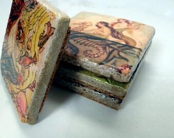 Vintage Mermaid Tile Coasters