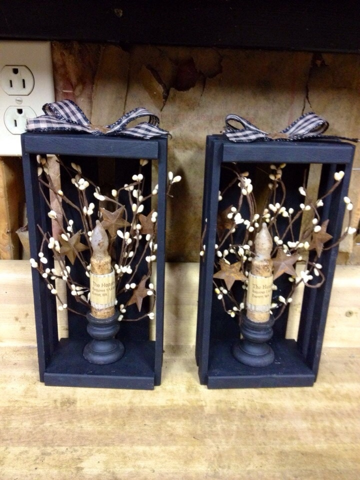 primitive country black candle stands. Black Bedroom Furniture Sets. Home Design Ideas