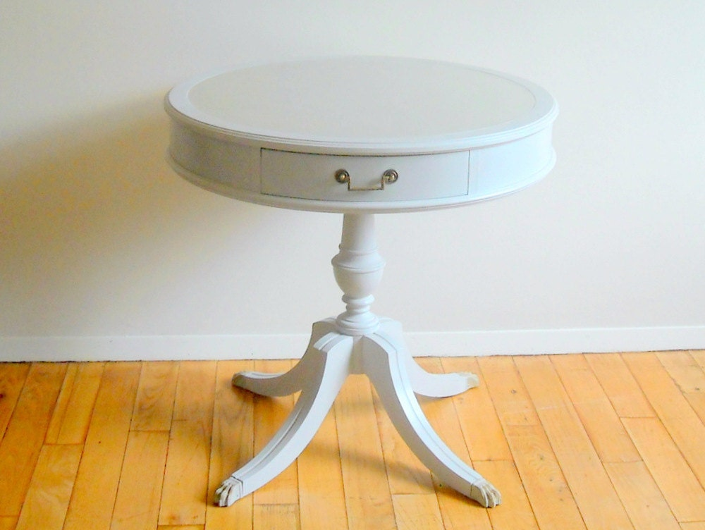 Drum Table . Vintage . 1940s . Round Accent Table . Hand