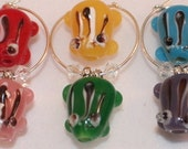 Frog Wine Charms, Housewarming Gifts, Glass Art Beads Set of 6