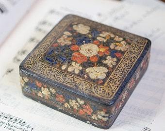 Vintage paper mache floral Box