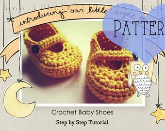"""Crochet pattern: """"Baby Unisex Boots with button"""" (Step by Step Tutorial)"""