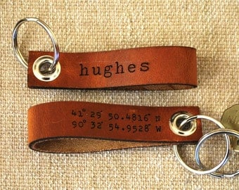 latitude longitude leather keychain  - personalized with your name or phrase on the other side