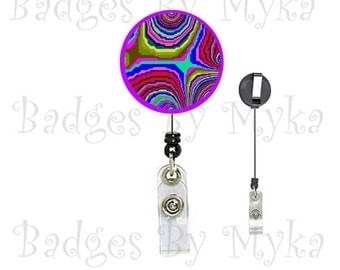 Retractable ID Badge Holder -Retro Funk