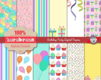 Birthday Party digital clipart, digital images, printables, patterns, backgrounds, digital papers [SC-001]