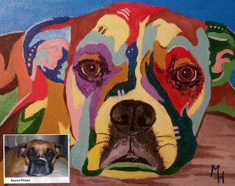 Acrylic Painting - Bailey the Boxer - Example of a commissioned painting
