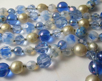 Antique Long Hand Knotted Austrian  Glass Bead Necklace