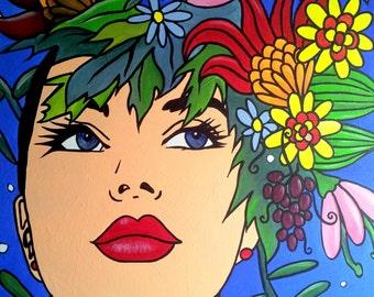 Girl's comic acrylic on canvas. 65 x 54 cm. frame POP ART original and unique.