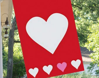 Hearts Handcrafted Applique Flag with Red Background