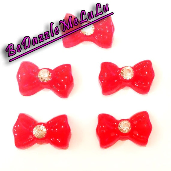 5pcs red bow tie ribbon with rhinestone acrylic flat back for Acrylic nail decoration supplies