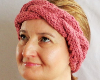 Cable Knit Winter Headband, Ear Warmer, Pink