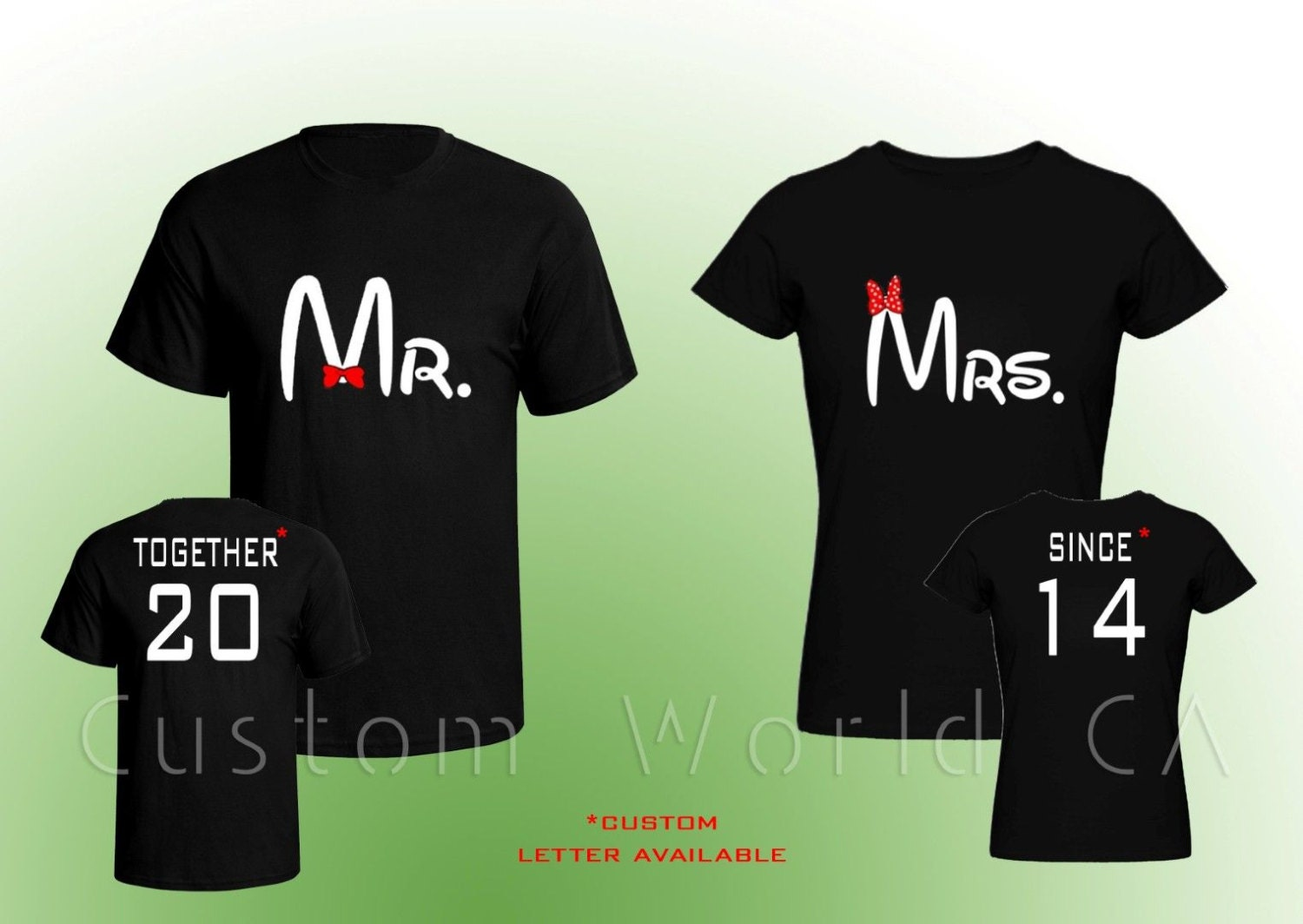 Design your own t-shirt front and back - Custom Made Couple T Shirt Mr And Mrs Together Since Your Custom Note On The Back Front And Back Together Since