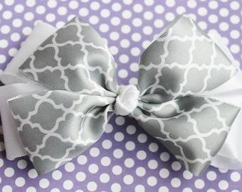 Grey and White Hair Bow