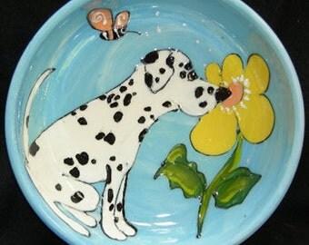 Hand Painted Ceramic Pet Bowl - Dalmatian