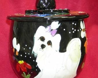 Princess Maltese Hand Painted Ceramic Treat Jar