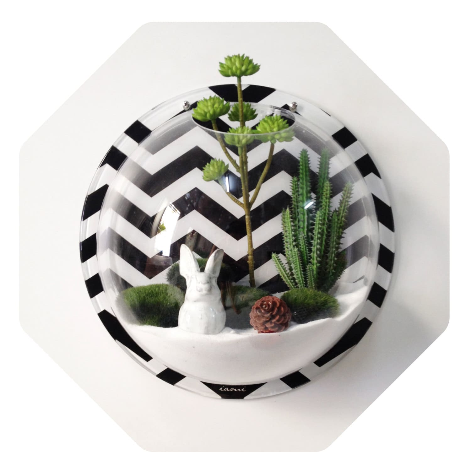 Zig zag home decor geometric fish bowl wall dome by iamiclover for Decorative fish bowls