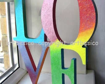 Wood letters LOVE, wood sign, wood alphabets, wood decor, rainbow multi colours