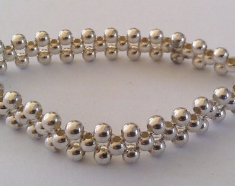Handmade Solid 925 Sterling silver bead stretchable bracelet