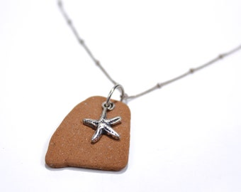 Sea Pottery Starfish Necklace with Silver Rivet And Sterling Charm.